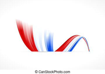 Blue white red - Abstract waving English and French flag