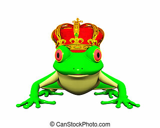 Frog prince - A frog with a crown on his head ready to turn...