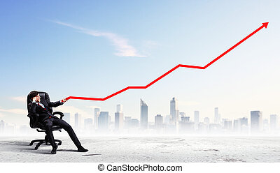 Businessman pulling graph - Image of young businessman...
