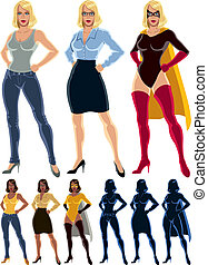 Superheroine Transformation - Ordinary woman transforms into...