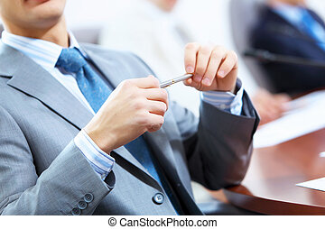 Three businesspeople at meeting - Image of three...