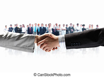 Business handshake - Handshake of business people with...