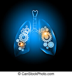 Human lungs - Illustration of human lungs with cog wheel...