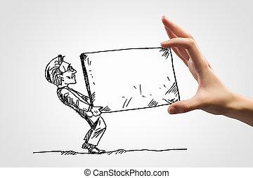 caricatura, hombre de negocios