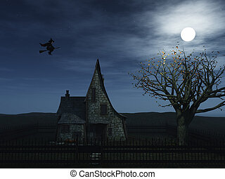 Flying witch - A spooky witch house at night with halloween...