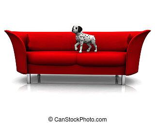 Dalmatian puppy in sofa - A cute dalmatian puppy in a red...
