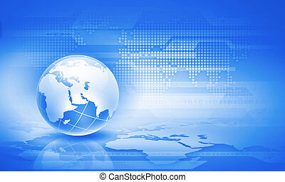 Globalization concept - Blue digital image of globe...