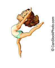 Ballet girl - A cute cartoon girl in a ballet pose.