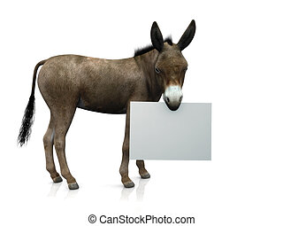 Donkey holding sign - A donkey holding a blank sign in his...