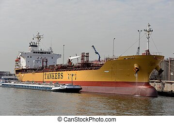 Tanker - A tanker at the harbor of Antwerp.
