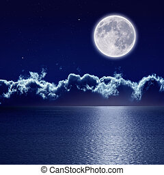 Full moon over sea - Peaceful background, night sky with...