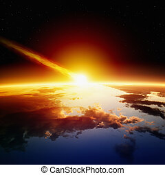 Asteroid impact - Abstract scientific background - asteroid...