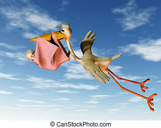 Stork with baby - A flying stork holding a baby in a blanket...