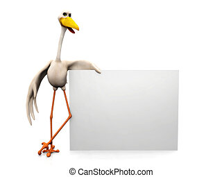 Stork with sign - A cartoon stork holding a blank sign.