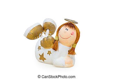 Ceramic angel figurine girl on a white background