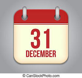Vector calendar app icon. 31 December