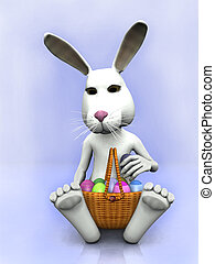 Cartoon easter bunny with a basket with eggs