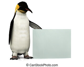 Penguin with sign - An emperor penguin holding a blank sign.