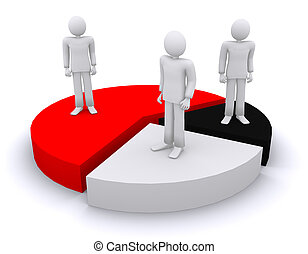 people stand on the sectors of diagram 3d illustration