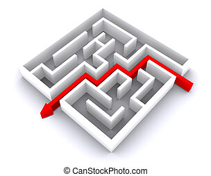 escape from labyrinth, business task 3d illustration