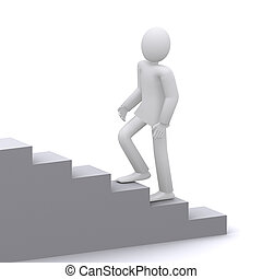 businessman running to the goal - man who climbs the ladder...