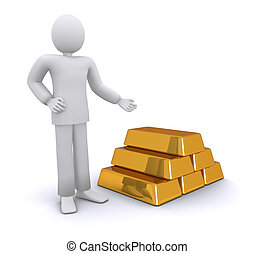 successful man with golden bars 3d illustration