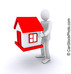 man who holds a house, real estate 3d illustration