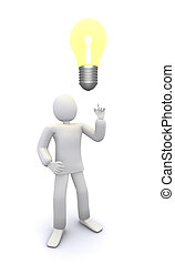 man who got bright bulb idea 3d illustration