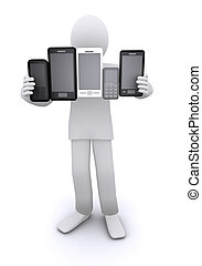 man holding mobile phones and smartphones - man holding a...