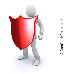 man with a shield, protecting 3d illustration
