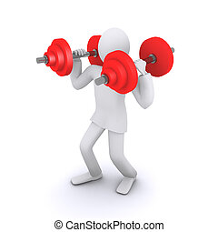 man who holds heavy weights 3d illustration