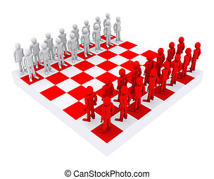 people like figures on a chessboard 3d illustration