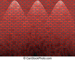 shined red old brick wall 3d illustration