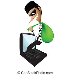 Thief Through the Internet graphic vector eps 10