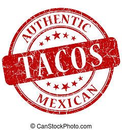 Tacos Red grunge stamp