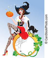 Brunette Pin Up Halloween Girl wearing witch suit and...