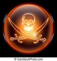 Pirate icon. - Pirate icon, isolated on black background