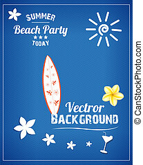 Beach Party typography background with sun