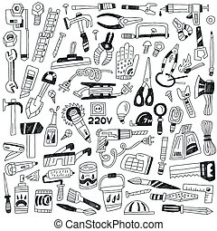 work tools - doodles - work tools - set icons