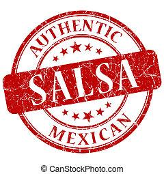 salsa red grunge stamp