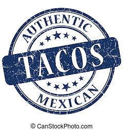 tacos blue grunge stamp
