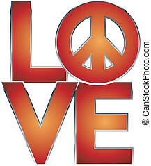 LOVE=Peace - Retro-style text design of LOVE with peace...