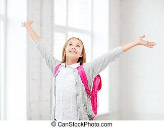 m�dchen, Schule, Auf, schueler, Hände