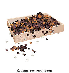 A Lot of Coffee Beans in Wooden Container