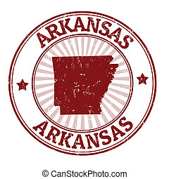 Arkansas stamp - Grunge rubber stamp with the name and map...