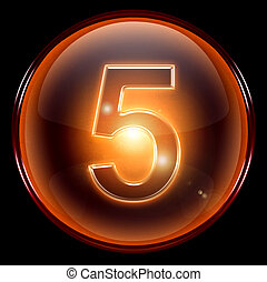 number five icon. - number five icon, isolated on black...
