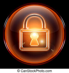 Lock icon - Lock icon, isolated on black background