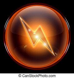 Lightning icon. - Lightning icon, isolated on black...