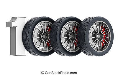 Black sport wheels - Black sports wheel on a white...
