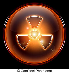 Radioactive icon, isolated on black background